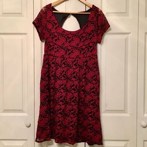 Torrid lace black and red empire waist dress
